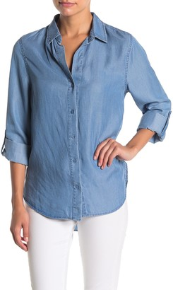 Como Vintage Chambray Twill Button Front High/Low Top