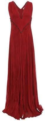 Roberto Cavalli Crystal-embellished Plisse Silk-blend Georgette Gown