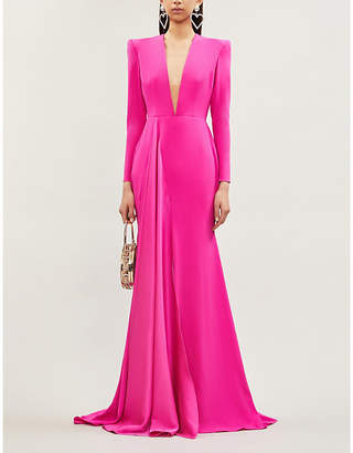 Alex Perry Lindy fitted semi-sheer crepe maxi dress