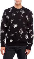 Eleven Paris Embroidered & Printed Fleece Sweatshirt