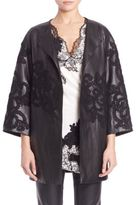 Josie Natori Hand-Embroidered Leather Topper
