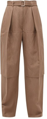Lemaire Belted Wool-blend Cargo Trousers - Womens - Brown