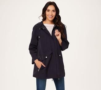 Martha Stewart Water Resistant Seamed Zip Front Jacket with Hood