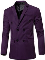 TUNEVUSE Men's Double Breasted Solid Suit Slim Fit Business Blazers US Small/Asian Large