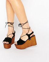 Asos TOO GOOD Suede Tie Up Wedge Sandals