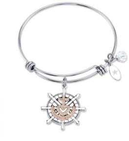 """Unwritten Faith Makes All Things Possible""""Anchor Bangle Bracelet in Stainless Steel & Rose Gold-Tone"""