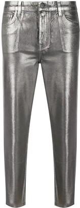 J Brand Metallic-Effect Cropped Trousers