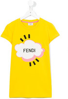 Fendi logo print T-shirt - kids - Cotton/Spandex/Elastane - 13 yrs