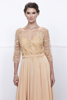 Unique Vintage Gold Three-Quarter Sleeve Embellished Sheer Long Dress