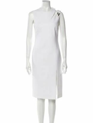 Versace Crew Neck Midi Length Dress w/ Tags White