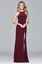 Faviana Long Jersey Halter Dress with Open Back in Wine 7976