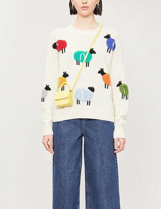 Benetton Sheep-print wool-blend jumper