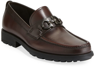 Salvatore Ferragamo Men's David Leather Lug-Sole Loafer