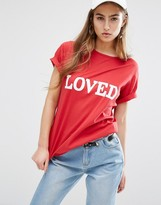 Daisy Street Relaxed T-Shirt With Loved Print