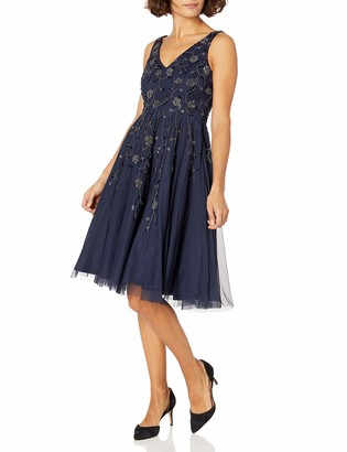 Adrianna Papell Women's Petite Sleeveless Tea Length Bead Dress