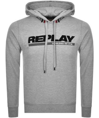 Replay Logo Pullover Hoodie Grey