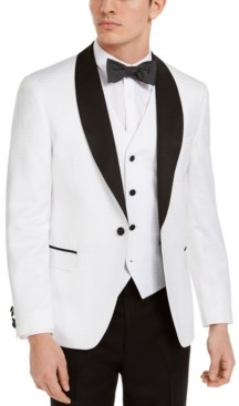 white suits for men shop the world s largest collection of fashion shopstyle men s slim fit white medallion tuxedo jacket created for macy s