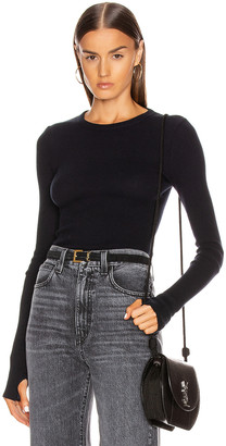 Enza Costa Cashmere Thermal Long Sleeve Cuffed Crew Top in Cadet | FWRD