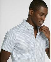 Express Slim Fit Circle Print Short-sleeve Cotton Button-down Shirt