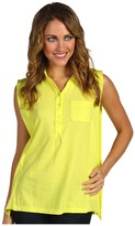Three Dots Sleeveless Button Front Top (Bright Lime) - Apparel