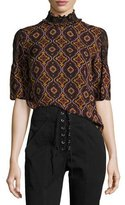 A.L.C. Miranda Printed Smocked-Collar Short-Sleeve Silk Top