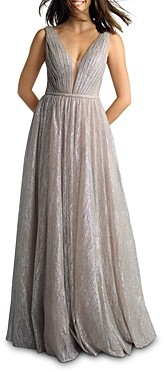 Basix II Metallic Pleated Plunge Gown