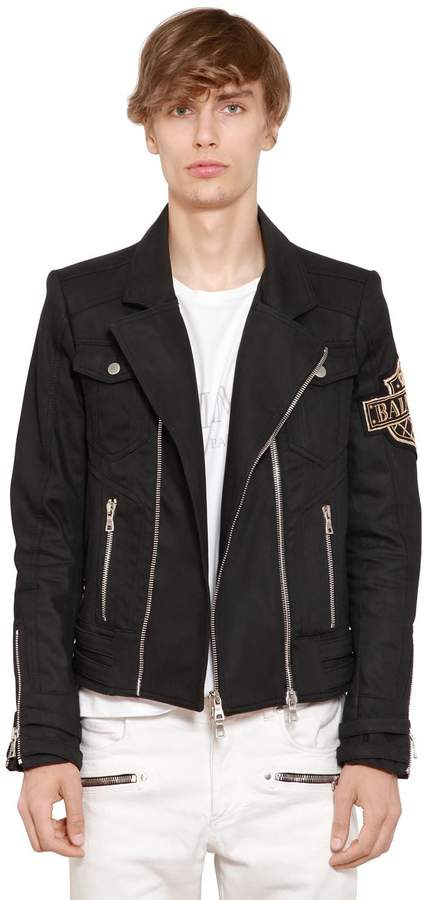 Balmain Waxed Cotton Denim Jacket W/ Patch