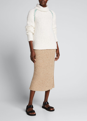 The Elder Statesman Cashmere Turtleneck w/ Whipstitch