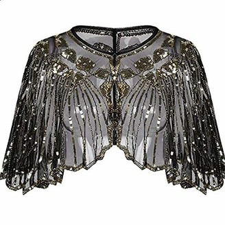 Central Chic Vintage Sequin Capelet Beaded Shawl Scarves Wedding Bridal Evening Cape Flapper Gatsby 1920s Christmas Party Shawl Cover Up Sparkly Shawl (Gold Sequins)