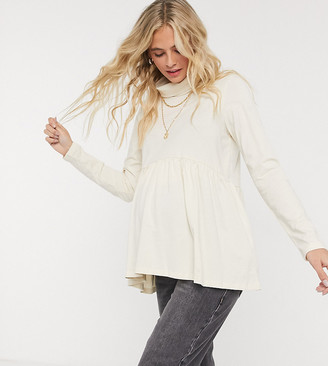 Pieces Maternity exclusive peplum top with high neck in cream