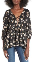 Lucca Couture Women's Floral Print Lace-Up Blouse