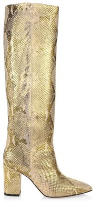 Paris Texas Knee-High Metallic Python-Embossed Leather Boots