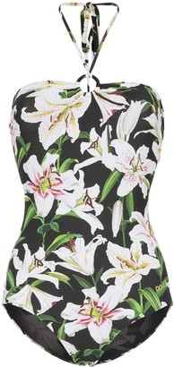 Dolce & Gabbana lily print halterneck swimsuit