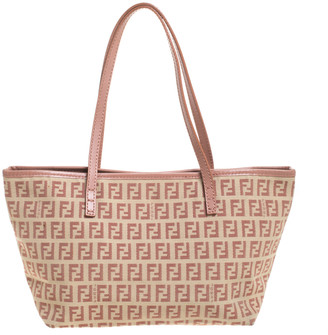 Fendi Light Pink/Beige Zucchino Canvas and Leather Tote