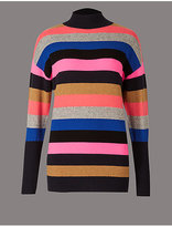 Autograph Cashmere Rich Colour Block Turtle Neck Jumper