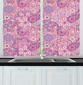 SCOCICI Mauve Decor Kitchen Curtains Ethnic Indian Bohemian Paisley Pattern Eastern Culture Floral Folk Design Window Drapes 2 Panels Set for Kitchen Cafe Dried Rose Pink