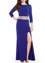 Jodi Kristopher Beaded Trim Waist Two-Piece Long Dress