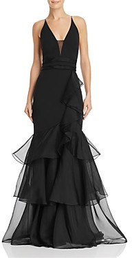 Aidan Mattox Tiered-Ruffle Crepe Gown