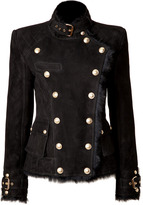 Balmain Shearling Double-Breasted Jacket in Black