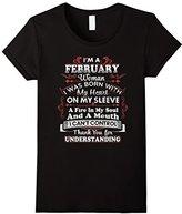 Women's I'm A February Woman I Can't Control Funny T Shirt Medium
