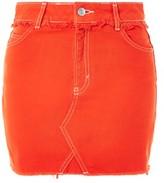 Topshop MOTO Red Denim Mini Skirt