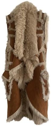 Balmain Camel Shearling Coat for Women