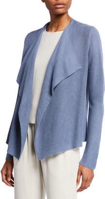 Eileen Fisher Petite Drape-Font Organic Linen/Cotton Cardigan