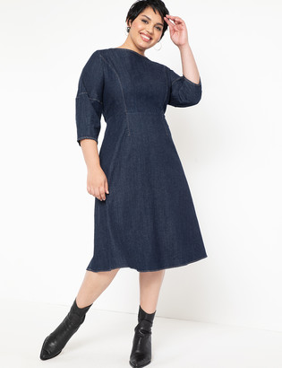 ELOQUII A-Line Lantern Sleeve Denim Dress