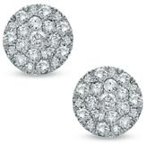 Zales 1/2 CT. T.W. Diamond Carnation Cluster Stud Earrings in 10K White Gold