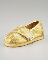 TOMS Tiny  Glitter Slip-On, Gold