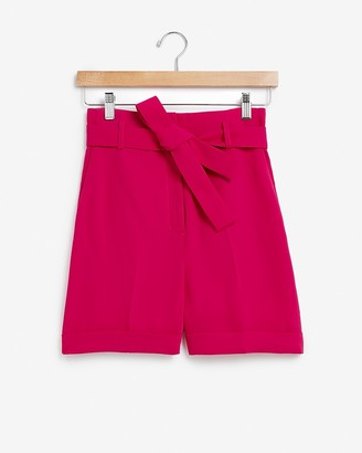 Express Super High Waisted Sash Tie Bermuda Shorts