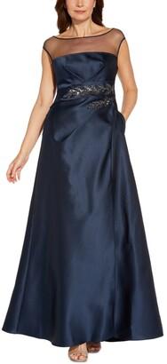 Adrianna Papell Illusion Mikado Ball Gown