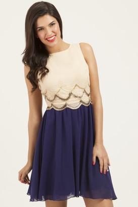 Little Mistress Cream & Navy Embellished Scallop Dress