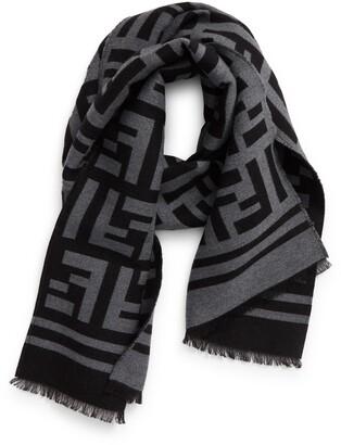 Fendi FF Logo Wool & Silk Scarf